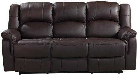 Brand New CARLTON 3 Seater Brown Leather Recliner