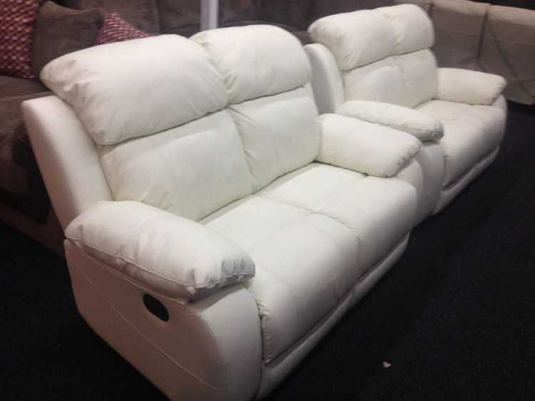 New Lazboy White Leather 2 + 2 Seater Recliners **