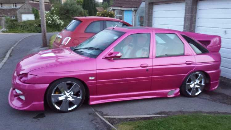 Highly Modified Pink Ford Escort Exotic