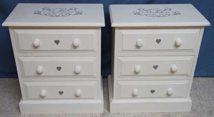Pair Vintage Shaby Chic Bedside Chests