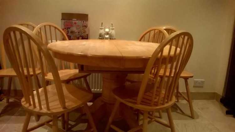 extendable kitchen table with six chairs.
