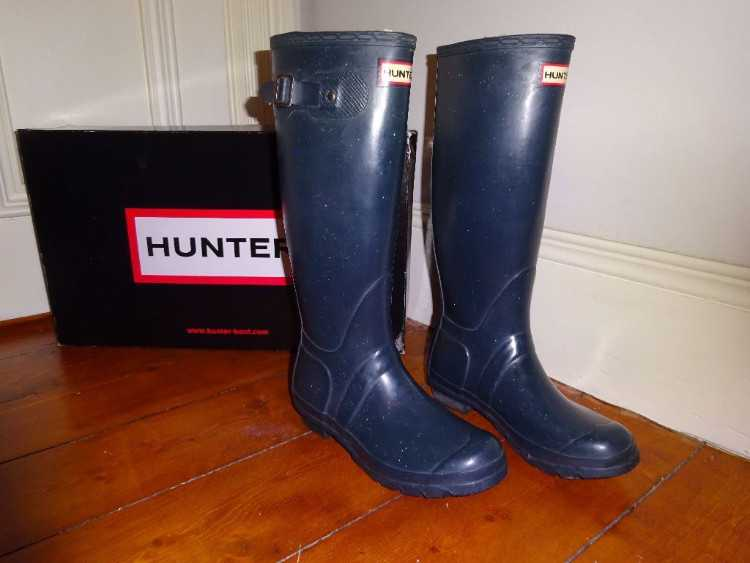 HUNTER ADULT TALL WELLIES/BOOTS SIZE UK 5 NAVY BLU