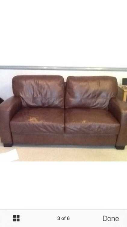 Pr brown leather sofa's delivery available