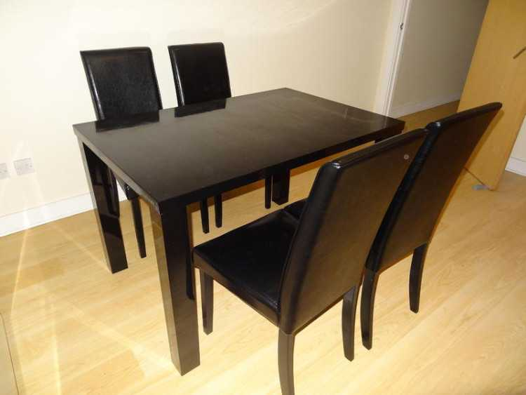 Almost New Modern Black Glossy Dinning Table with