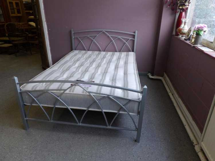 Double metal bed frame with mattress in our 20% of