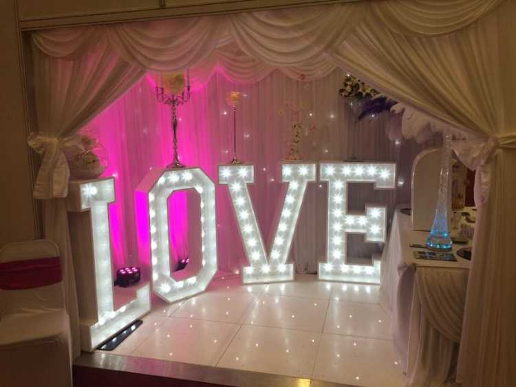 Wedding letter marquee hire